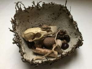 Nest - Clay with Cattail Fiber and Found Objects