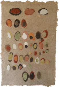 Noted - clay pigment collage on cattail paper